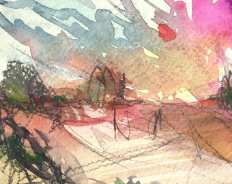 "Watercolor/Mixed Media ""Late Summer Evening"" - Original Landscape / Sketch / Drawing"