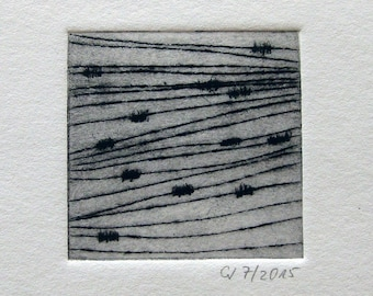"""Etching """"Open l"""" - original print, hand-printed cold needle etching, print"""