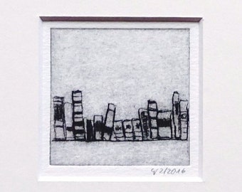 """Etching """"small books"""" - original print, hand-printed cold needle etching, print in passepartout"""