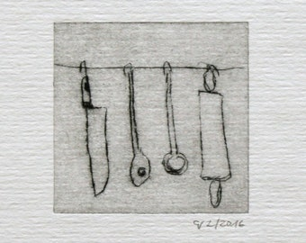 """Hand-printed cold needle etching """"Kitchen on a leash - knife"""""""