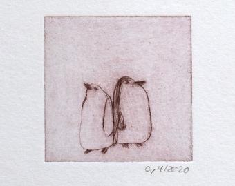 "Etching ""Pingu-Paar"" Original print, hand-printed cold-needle etching, printmaking"