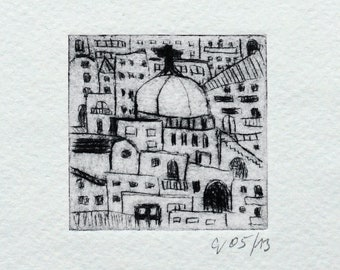 """Etching """"South"""" Original Print, Hand Printed Cold Needle Etching, Print"""