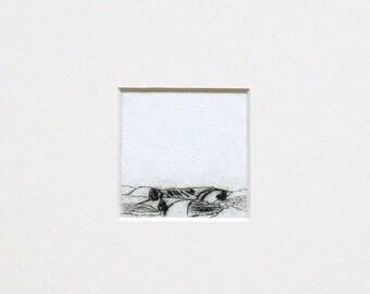 "Etching ""Über Land"" in Passepartout - original print, hand-printed cold needle etching, printmaking"