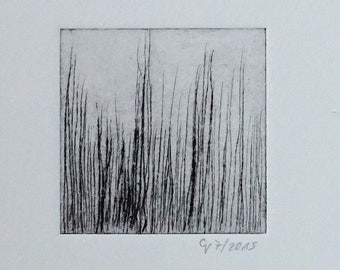 """Etching """"Abstract 1"""" - Original Print, Hand Printed Cold Needle Etching, Print"""