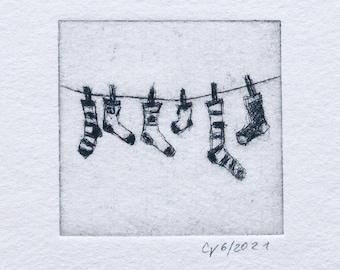 "Etching ""Fresh Socks"" - original print, hand-printed cold needle etching, printmaking"