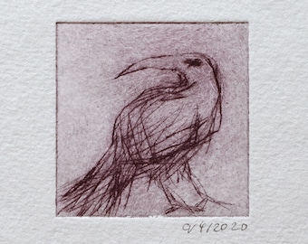 """Etching """"Old Raven"""" Original Print, Hand Printed Cold Needle Etching, Print"""