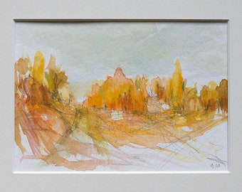 "Watercolor/Mixed Media ""Blues in Orange"" - Original Landscape / Sketch / Drawing in Passepartout"
