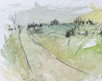 """Watercolor/Mixed Media """"On the Road in November"""" - Original Landscape / Sketch / Drawing in Passepartout"""