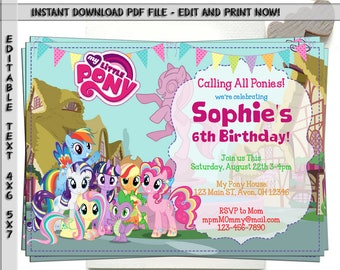 My Little Pony Invitation Birthday Party Printable Digital