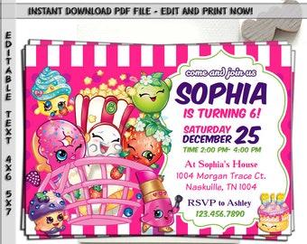 Shopkins Party Invite, Shoppies Birthday Card Invitation, Shopkin Shoppie  Printable, Shopville Digital Invitations   Instant Download