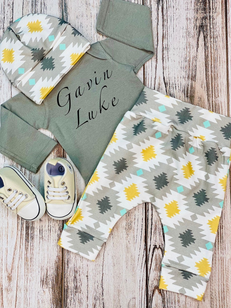 Baby Boy Coming Home Outfit Personalized Organic Baby Clothes Newborn Boy Coming Home Outfit Newborn Boy Clothes