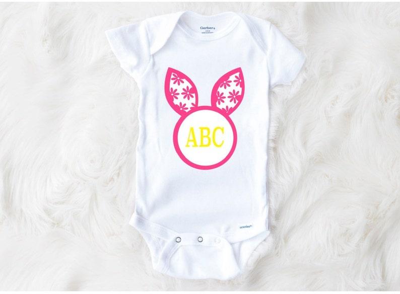 First Easter Bodysuit,Girl Easter Bodysuit Custom Easter Onesie\u00ae,Monogram Onesie\u00ae Bunny Ears Bodysuit Girl Easter Bunny Ears Onesie\u00ae