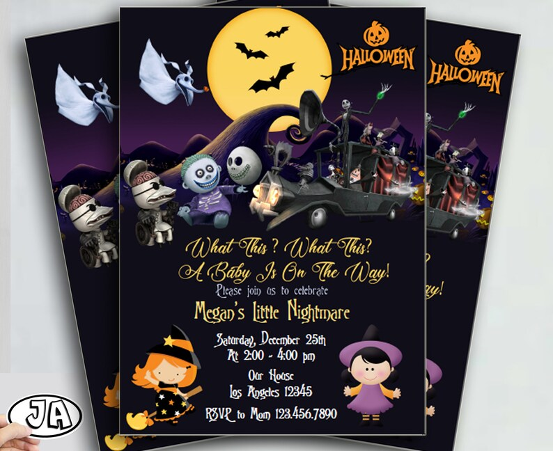 Halloween Birthday Invite Nightmare Before Christmas Invitation, Digital  File, Halloween Baby Shower, instant Download PDF Editable