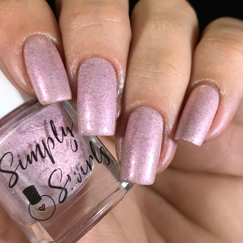 Study Break Light Pink Nail Polish Silver Holo-Indie Polish | Etsy