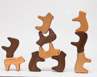 Mixed Stacking Bears: Montessori and Waldorf inspired wooden toy