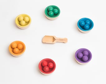 Rainbow Sorting, Matching and Counting Small Balls and Bowls | Montessori and Waldorf inspired