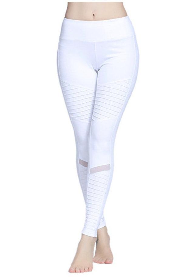 White Sports Mesh High Waisted Suspender Aerobics Bottoms
