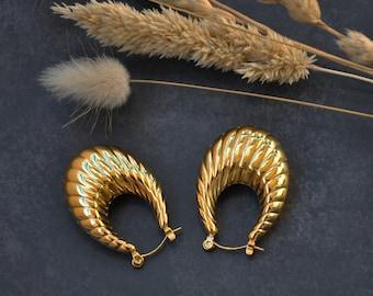 Gold croissant hoop earrings   thick huggies   vintage 18k gold plated Thick hoop earrings   Chunky hoops   anti tarnish waterproof