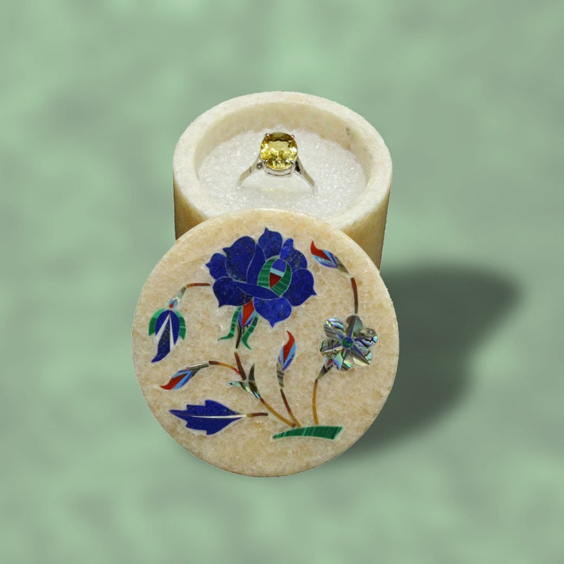 Engagement Ring Box \u2013 Exquisite Handmade Inlay Marble Art with Semiprecious Gem Stone \u2013 2\u201d White Elephant Gift for Women Round