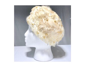 2a827263a7a Christian Dior Chapeaux Cream Feathered Formal Hat Vintage