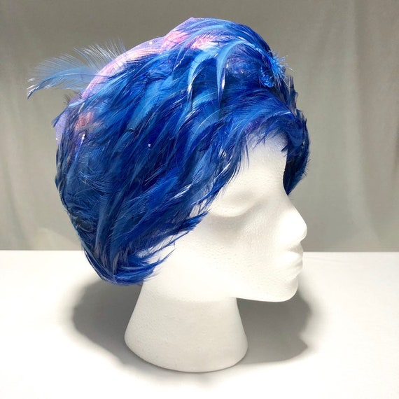 Christian Dior Chapeaux Blue Feathered Ladies Hat… - image 4