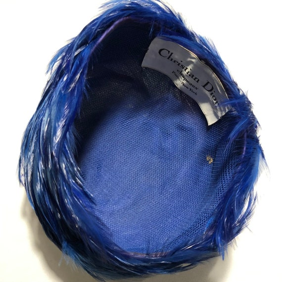Christian Dior Chapeaux Blue Feathered Ladies Hat… - image 8