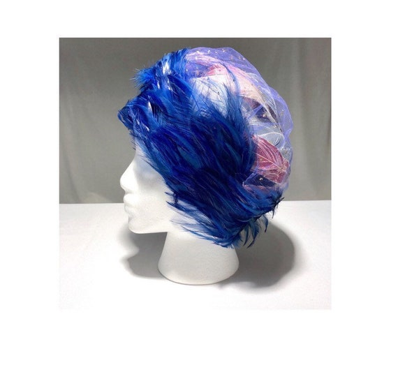 Christian Dior Chapeaux Blue Feathered Ladies Hat… - image 1