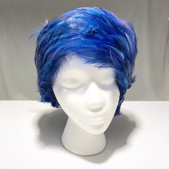 Christian Dior Chapeaux Blue Feathered Ladies Hat… - image 3