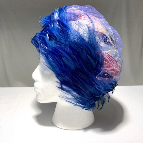 Christian Dior Chapeaux Blue Feathered Ladies Hat… - image 2
