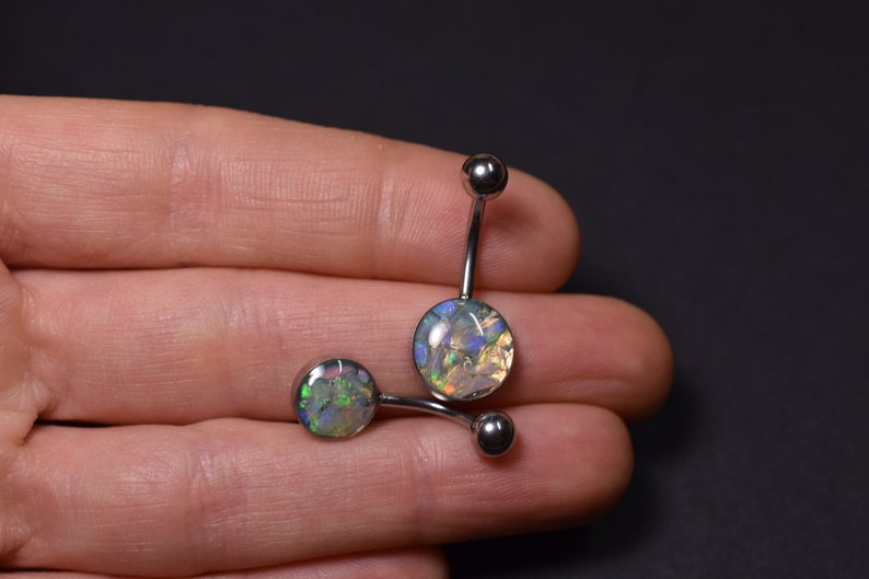 Natural Raw Opal Belly Barbell Ring