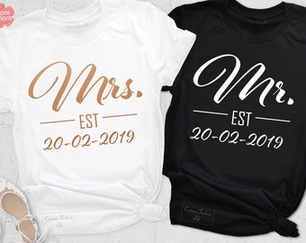 037b863257 Mr and Mrs Shirts, Couples Shirts, Women's V-Neck Shirt, Unisex Matching  Shirt, Anniversary T-Shirt, Honeymoon Summer Tanks, Newlywed Shirts