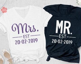 83d564dd Mr and Mrs Shirt, Couple Matching Shirts, Couple Shirts, Engagement Shirt,  Anniversary Shirt, Honeymoon Tanks, Newlywed Shirts, Wedding