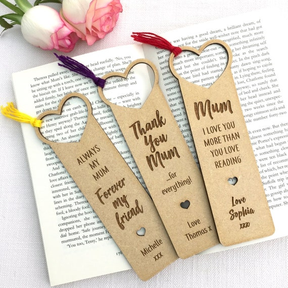Mum Personalised Wooden Bookmark - choose tassel colour - Gift for Her,  Birthday, Mother's Day - Gift Bag Option