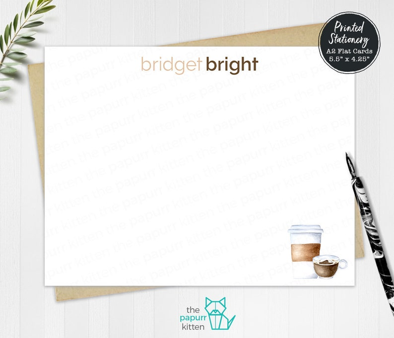 Correspondence Cards Personalized Stationery Set of Coffee Note Cards Personalized Stationary Coffee Lovers Flat Cards Teacher Gift