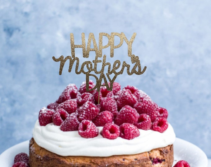 Happy Mother's Day Cake Topper, Glitter Happy Mothers Day Sign, Party Decorations  Flower Bouquet Topper