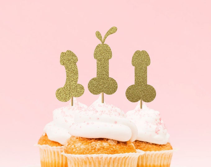 Bachelorette Party Penis Cupcake Toppers Picks, Hen Party Penis Decorations, Same Penis Forever Decorations