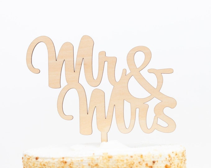 Mr and Mrs Cake Topper, Personalized Wedding Cake Topper, Acrylic & Wood Name Cake Topper, Rustic Wedding Cake Topper