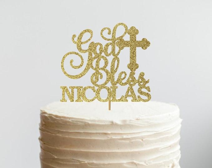 God Bless Cake Topper, Baptism Cake Topper, Christening Cake Topper, Holy Communion Cake Topper, Custom Baptism, Any name, Custom name