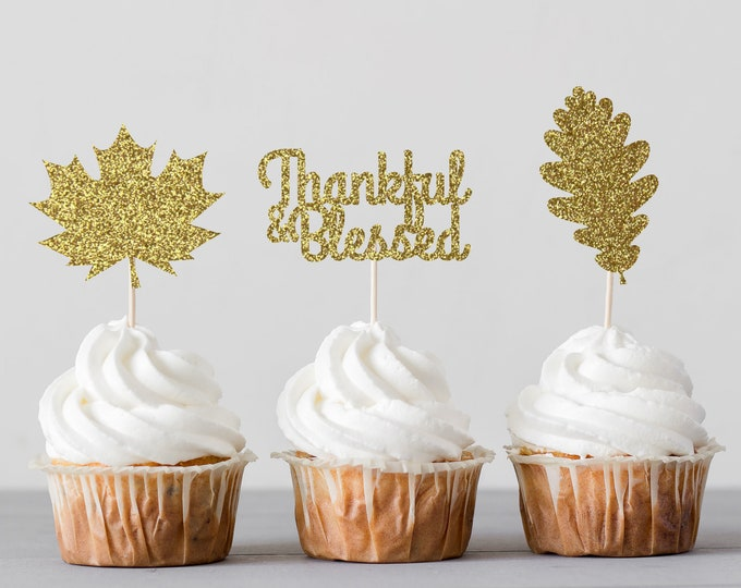 Autumn Leaves Cupcake Toppers, Happy thanksgiving cupcake toppers, Thanksgiving Cupcake Toppers, Fall Themed