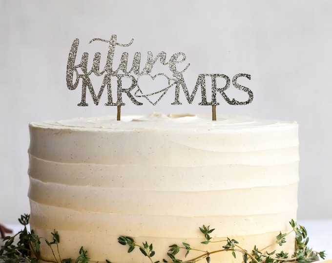 Future Mr & Mrs Cake Topper, Engagement Party, Future Husband and Wife Cake Topper, Engagement Cake Topper, Engaged Centrepiece