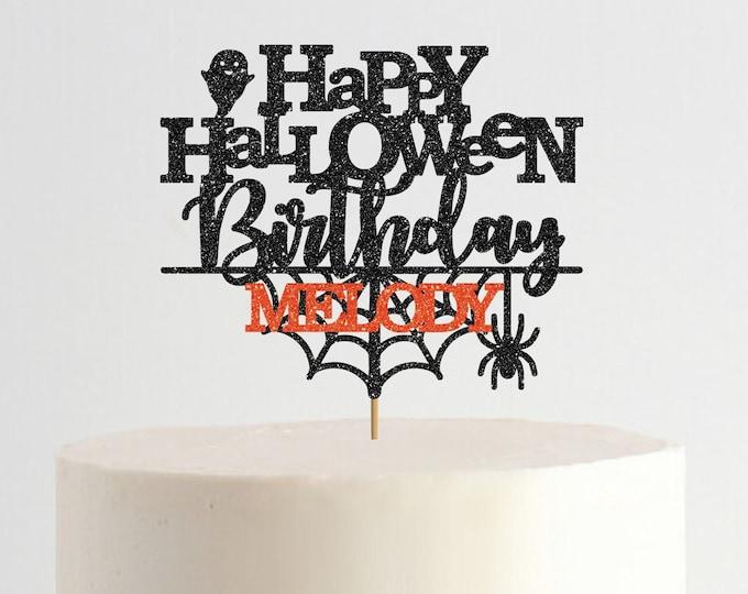 Halloween Birthday Cake Topper, Happy Halloween, Happy Birthday Cake Topper, Custom Halloween Cake Topper, Happy BooDay Cake Topper
