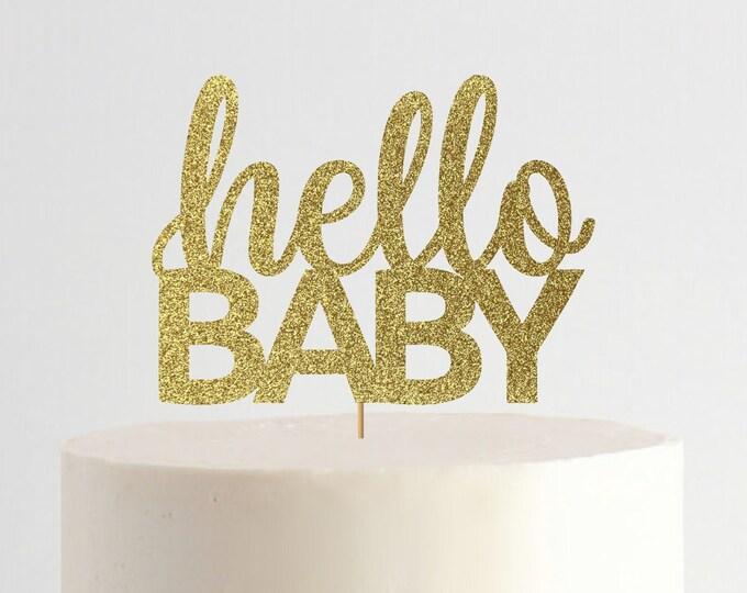 Hello Baby Cake Topper, Baby Shower Cake Topper, Gender reveal, Baby Shower Decoration, Baby Shower Decor.