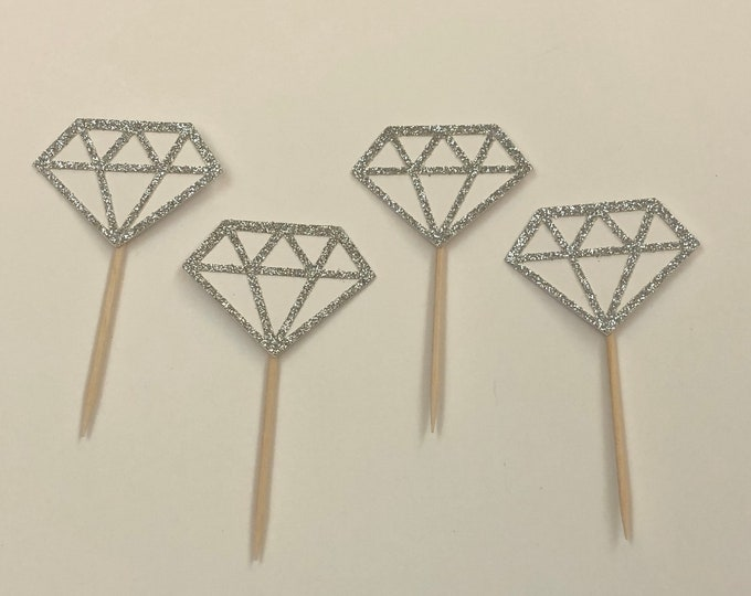 Diamond Cupcake Topper, Appetizer toothpick, Bride to Be, Bachelorette party, Engaged, Engagement, Donut topper