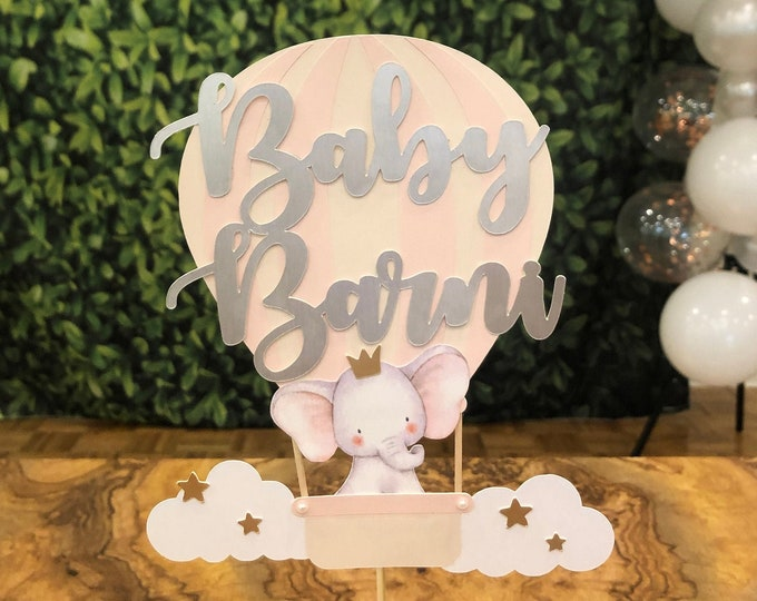 Baby Elephant Cake Topper, Baby Shower Cake Topper and Cupcake Topper, Baby girl, Up in the Air balloon