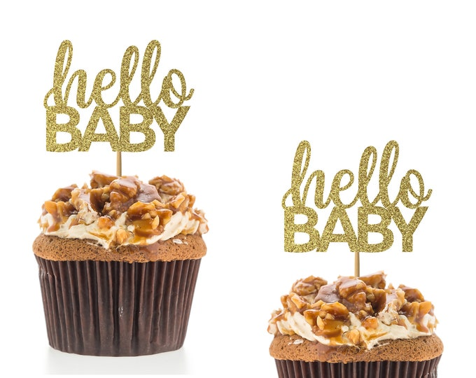 Hello Baby Cupcake topper, Gender reveal cupcake topper, Baby shower, Baby Boy, Baby Girl