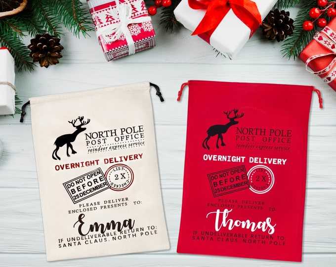 Personalized Santa Sack, Christmas Gift Bag, Christmas bag, Personalized Stocking, North Pole Post Office Santa Bag, Santa Delivery Bag.