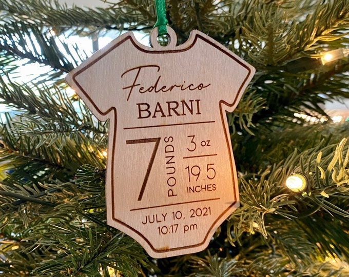 Baby Christmas Ornament, Baby's First Christmas, Personalized Birth Stat Ornament, New Baby Keepsake, Baby Announcement, Baby Shower Gift