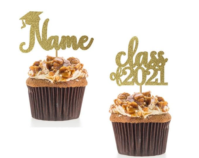 Custom Graduation Cap Name and Class of 2021 Cupcake Toppers, 2021 Graduation Party, 2021 Grad Cupcake Toppers