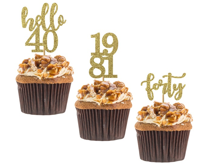 Hello 40 cupcake topper, 40th birthday, hello forty cupcake topper, custom age cupcake topper, Set of 12 birthday Cupcake topper.