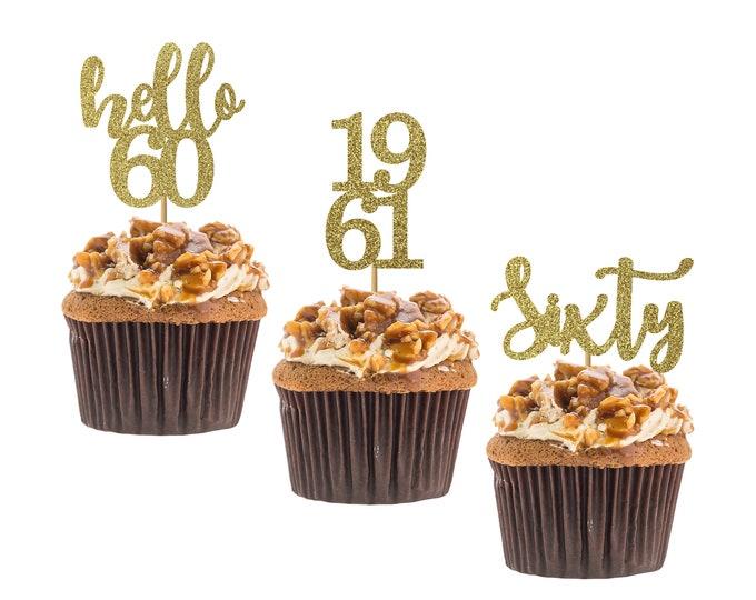 Hello 60 cupcake topper, 60th birthday, hello sixty cupcake topper, custom age cupcake topper, Set of 12 birthday Cupcake topper.